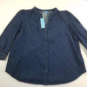 NWT Draper James Chambray Button Up Blouse Large